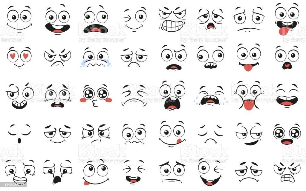 Cartoon gezichten. Expressieve ogen en mond, glimlachend, huilen en verrast karakter gezicht expressies vector illustratie set - Royalty-free Antropomorfische smiley vectorkunst