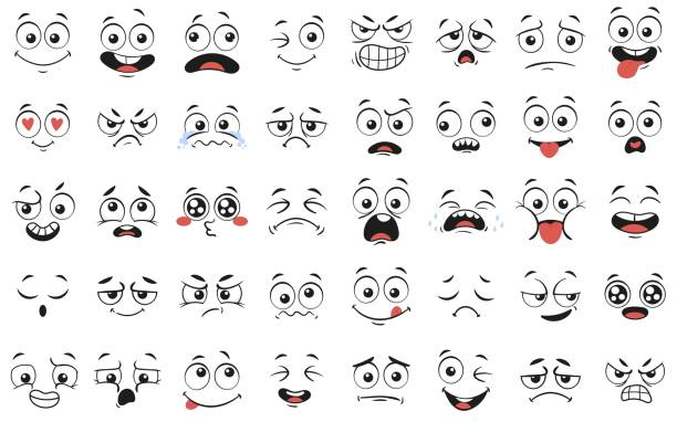 cartoon faces. expressive eyes and mouth, smiling, crying and surprised character face expressions vector illustration set - anger stock illustrations
