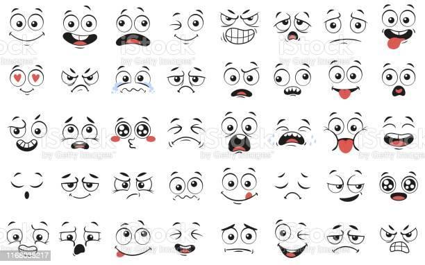 Cartoon Gezichten Expressieve Ogen En Mond Glimlachend Huilen En Verrast Karakter Gezicht Expressies Vector Illustratie Set Stockvectorkunst en meer beelden van Antropomorfische smiley