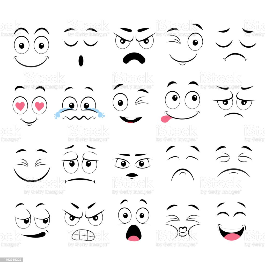 Cartoon Faces Expressive Eyes And Mouth Smiling Crying And