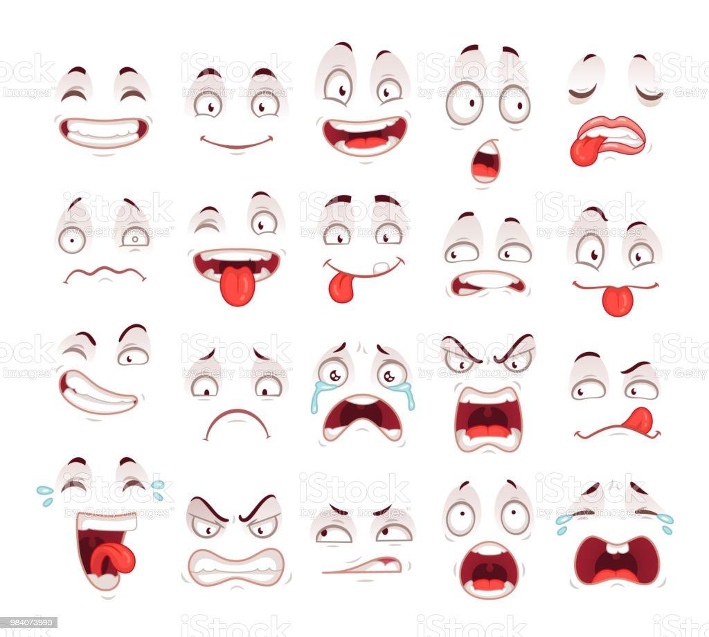Rostos dos desenhos animados. Happy animado sorriso infeliz triste chorar a rir e rosto expressões de medo. Caricaturas expressivas conjunto de vetores - ilustração de arte em vetor