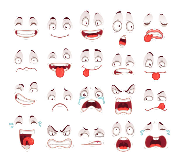 cartoon faces. happy excited smile laughing unhappy sad cry and scared face expressions. expressive caricatures vector set - anger stock illustrations
