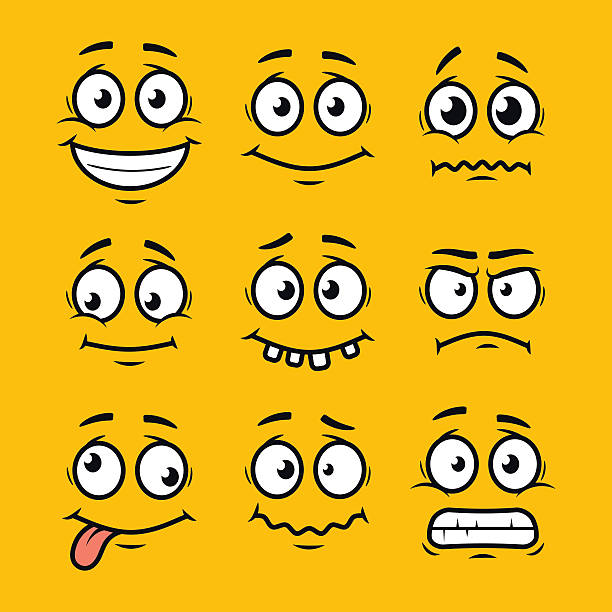 stockillustraties, clipart, cartoons en iconen met cartoon faces set - gezichtsuitdrukking