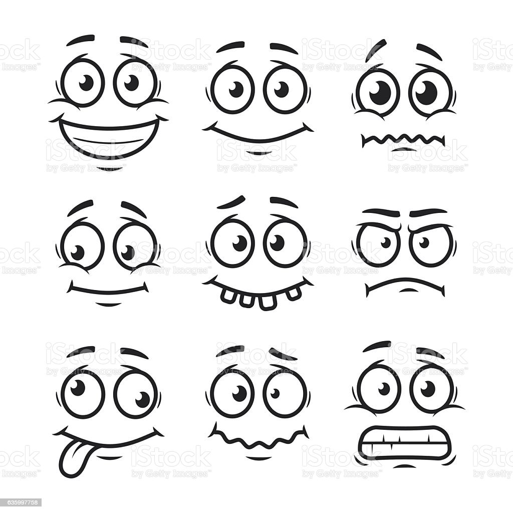 Cartoon faces set vector art illustration