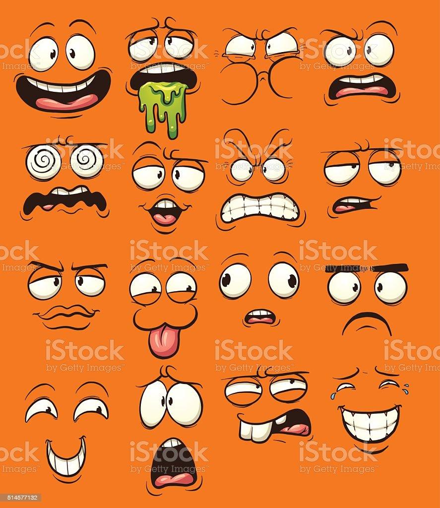 Cartoon faces vector art illustration