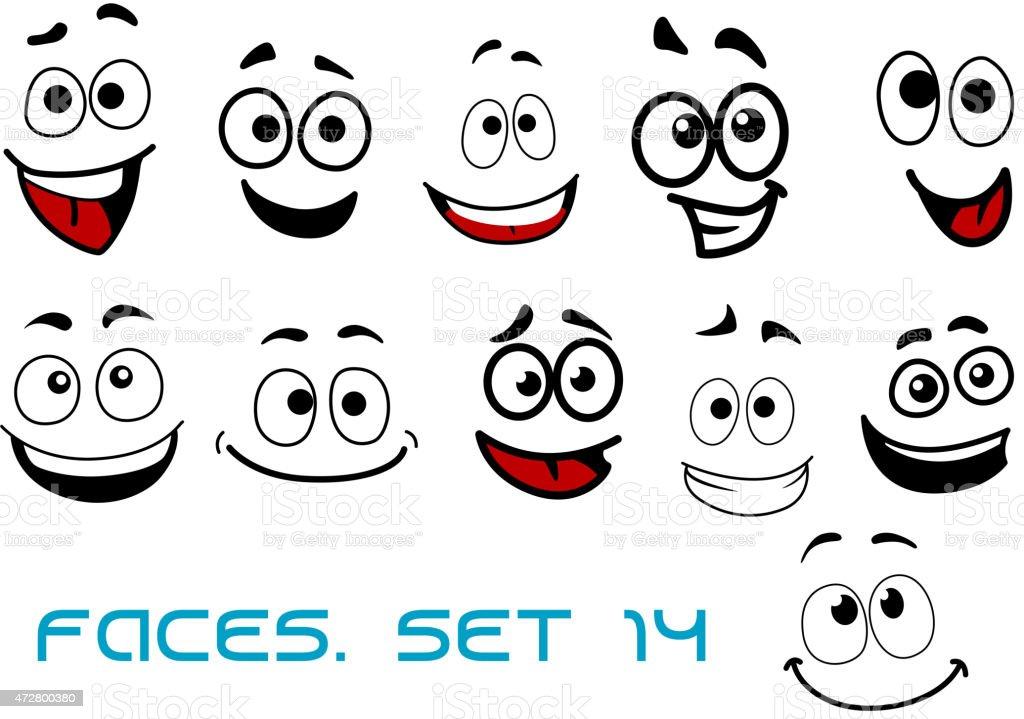 Ilustración De Caras De Dibujos Animados Con La Felicidad Y