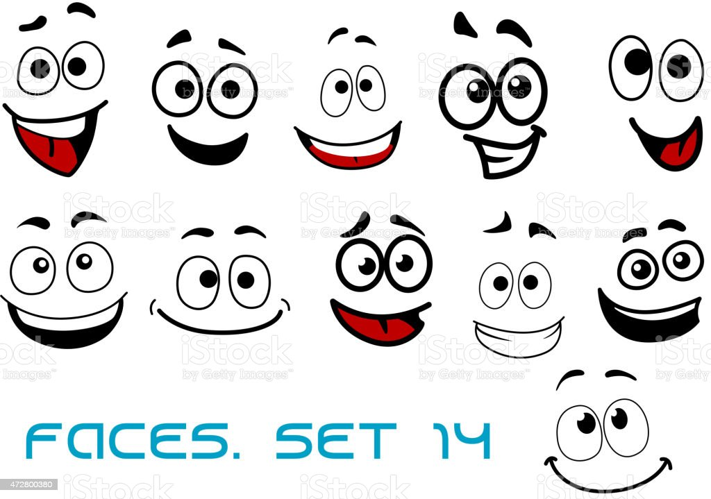 Cartoon faces with happiness and joyful expressions vector art illustration