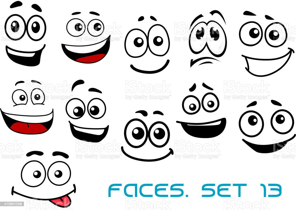 Para Niños De Dibujos Animados Caras Diferentes: Ilustración De Caras De Dibujos Animados Con Varias
