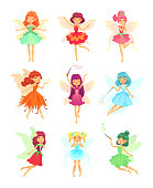 Cartoon fairies characters. Fairy creatures with wings and magic wands little tales pixie. Fabulous fairytale flying elf dress girls with flower skirt and hair green colorful vector isolated icon set