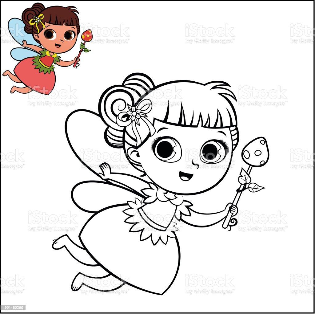 Ilustración de Personaje De Hadas De Dibujos Animados Para Colorear ...