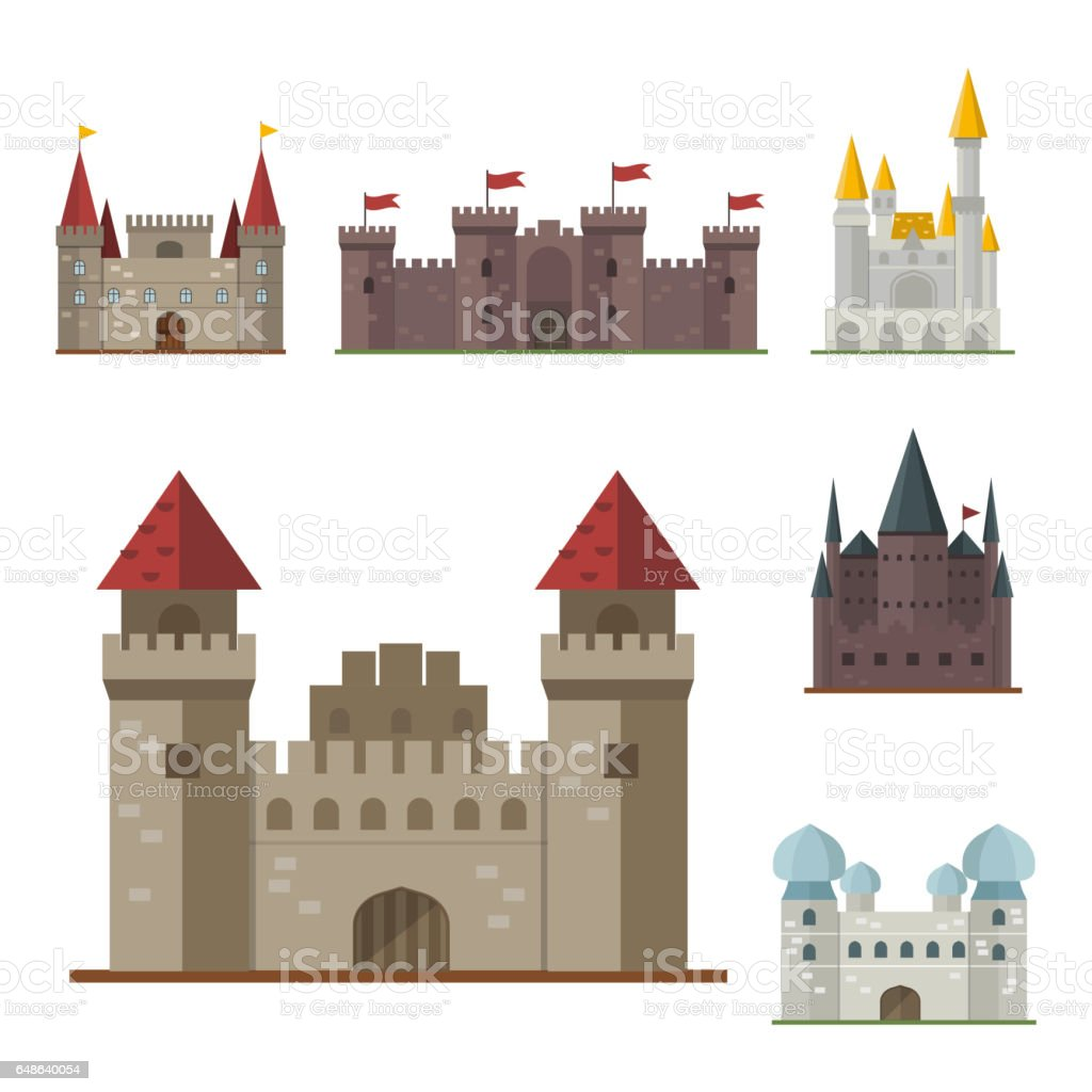 Cartoon fairy tale castle tower icon cute architecture for Castle architecture design