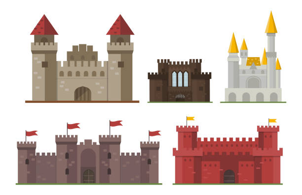 ilustrações de stock, clip art, desenhos animados e ícones de cartoon fairy tale castle tower icon cute architecture fantasy house fairytale medieval and princess stronghold design fable isolated vector illustration - castle