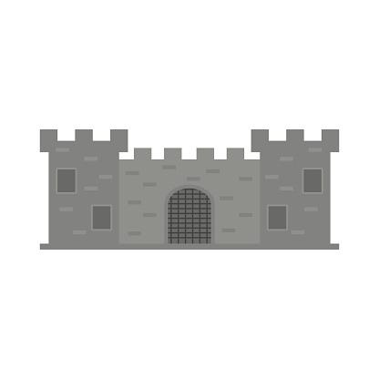 Cartoon fairy tale castle tower icon. fairytale medieval castle.Vector illustration.