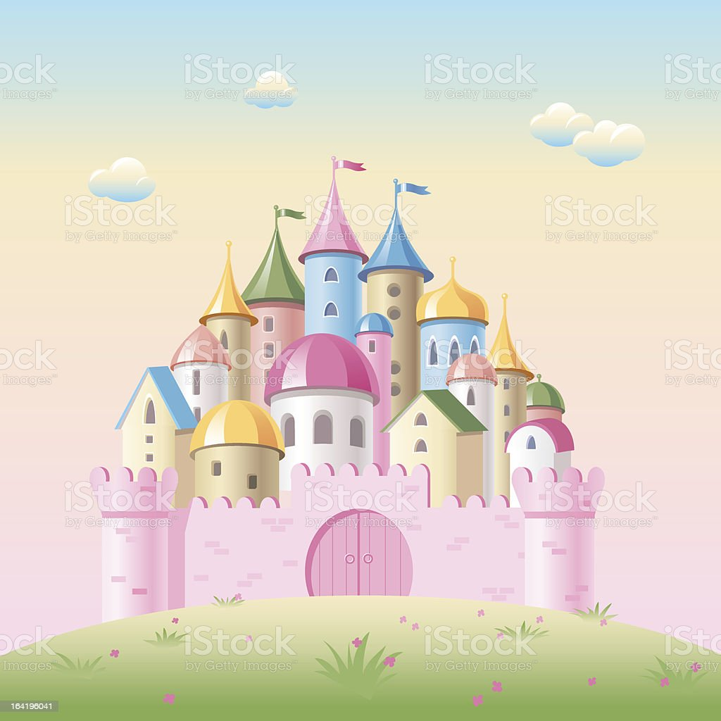 Cartoon fairy tale castle vector art illustration