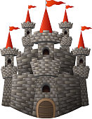 Cartoon fairy tale stone castle