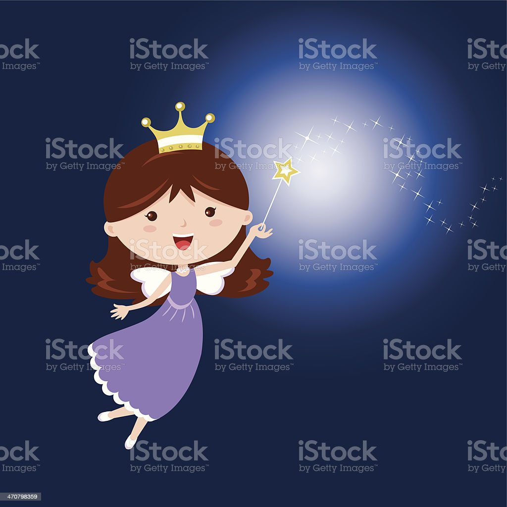 Cartoon fairy with sparkling wand on dark blue background vector art illustration
