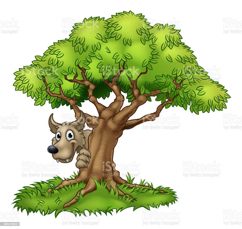 Cartoon Fairytale Big Bad Wolf and Tree vector art illustration