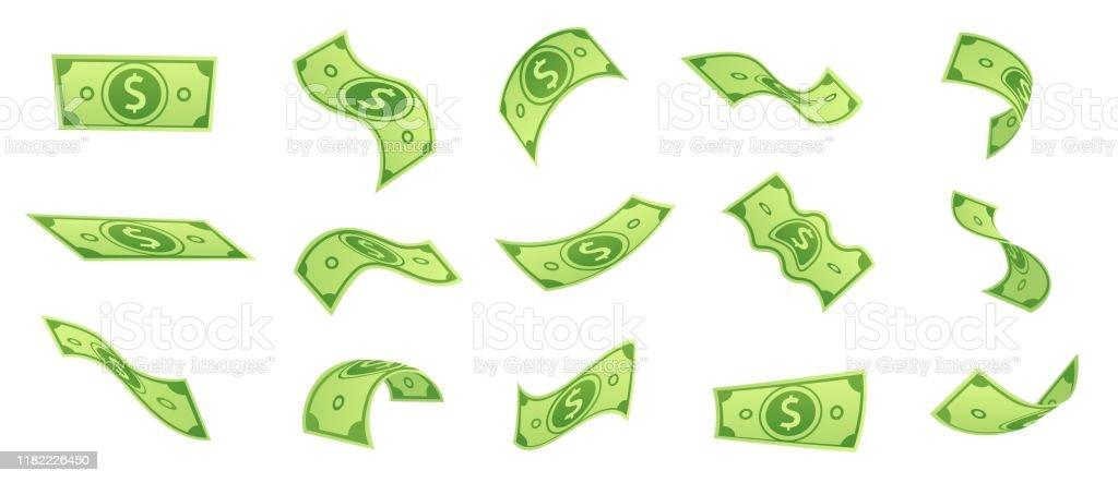 돈 청구서를 떨어지는 만화. 플라잉 그린 달러 지폐, 3D 현금 및 USD 통화 벡터 세트 - 로열티 프리 0명 벡터 아트