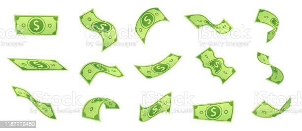 돈 청구서를 떨어지는 만화 플라잉 그린 달러 지폐 3d 현금 및 Usd 통화 벡터 세트 0명에 대한 스톡 벡터 아트 및 기타 이미지