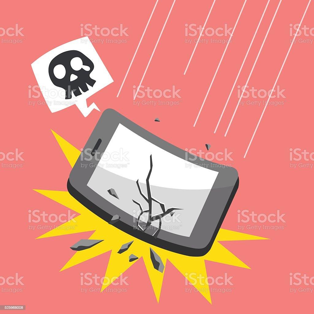 Cartoon falling smartphone vector art illustration