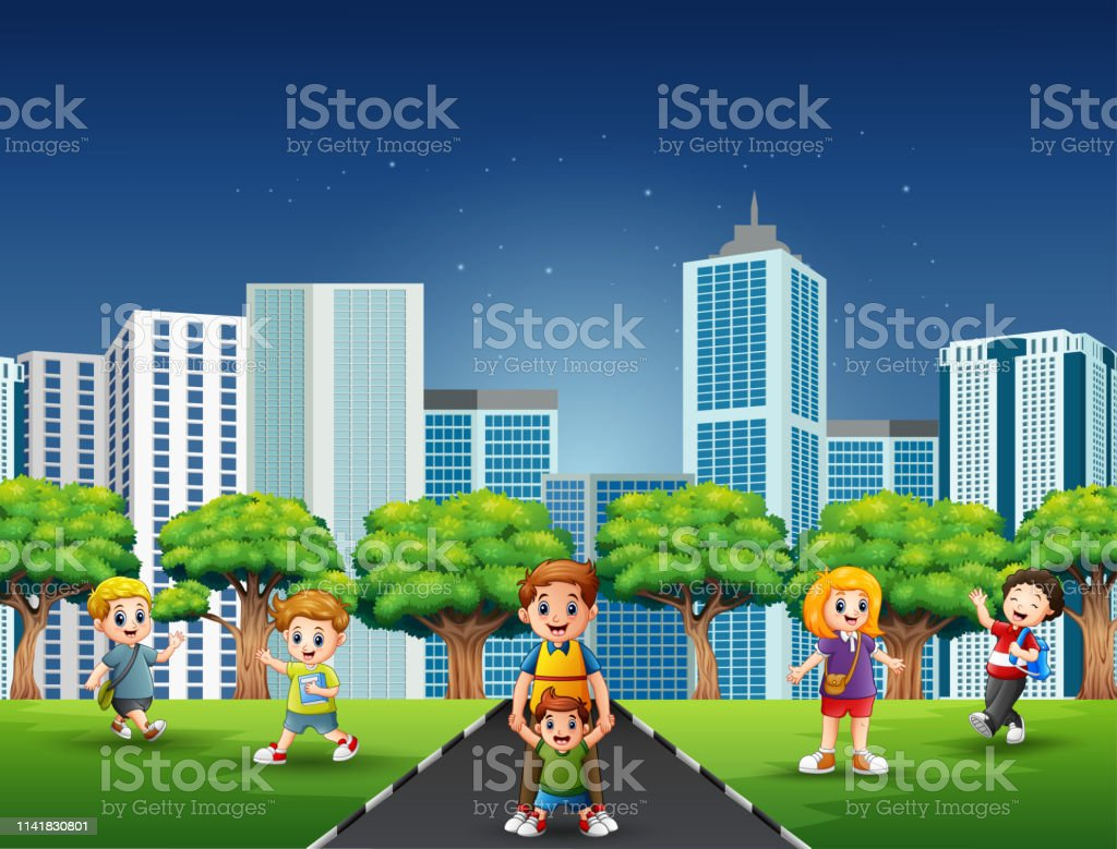 Cartoon family and children having fun on the road