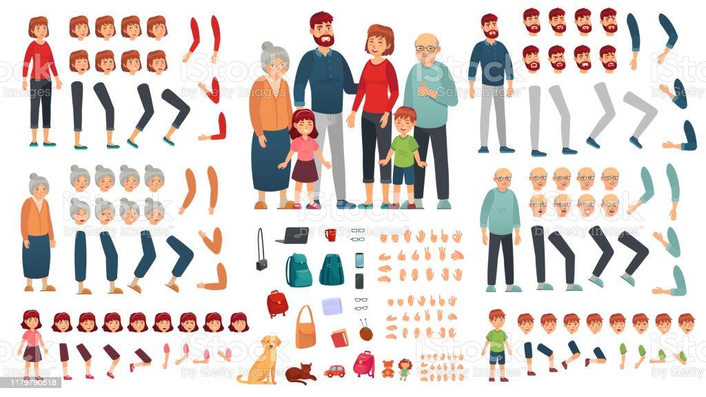 Kit de création de famille de dessin animé. Parents, enfants et grands-parents personnages constructeur. Grand ensemble d'illustration de vecteur de famille - clipart vectoriel de Adulte libre de droits
