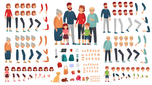 Cartoon family creation kit. Parents, children and grandparents characters constructor. Big family vector illustration set Cartoon family creation kit. Parents, children and grandparents characters constructor. Big family, mascot emotions, body gesture and hairstyle. Isolated vector illustration symbols set group of objects stock illustrations