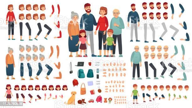 Kit De Création De Famille De Dessin Animé Parents Enfants Et Grandsparents Personnages Constructeur Grand Ensemble Dillustration De Vecteur De Famille Vecteurs libres de droits et plus d'images vectorielles de Adulte