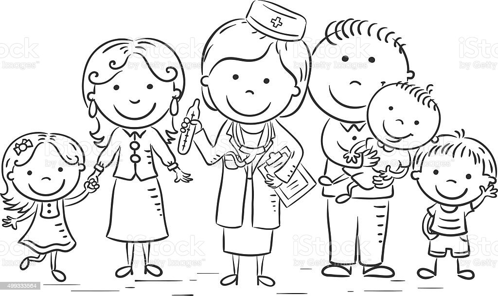 Cartoon Family Doctor Black And White Royalty Free
