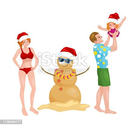 Cartoon family having fun with snowman made of sand. Father holding child in arms vector illustration. Merry christmas concept. Isolated on white background