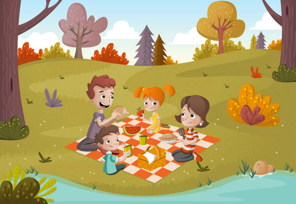 Cartoon family having picnic in the park on a sunny day. Nature background. Cartoon family having picnic in the park on a sunny day. Nature background. female sandwich stock illustrations