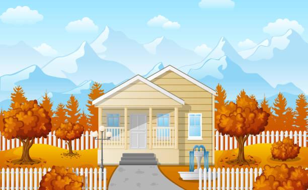 Cartoon family house with mountain in fall season Vector illustration of Cartoon family house with mountain in fall season driveway stock illustrations