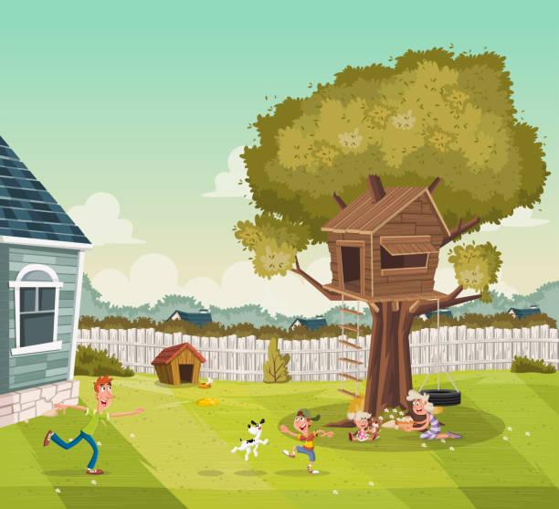 ilustraciones, imágenes clip art, dibujos animados e iconos de stock de dibujos animados de la familia en el patio trasero de una casa colorida en barrio suburbio. casa del árbol en el patio. - backyard