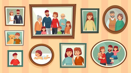 Cartoon family photo frames. Happy people portraits in wall picture frames, family portrait photos vector illustration
