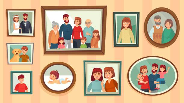 漫画の家族のフォトフレーム。壁の写真フレームで幸せな人々の肖像画、家族の肖像写真ベクトルイラスト - 家族写真点のイラスト素材/クリップアート素材/マンガ素材/アイコン素材