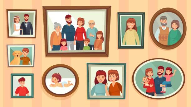 ilustrações de stock, clip art, desenhos animados e ícones de cartoon family photo frames. happy people portraits in wall picture frames, family portrait photos vector illustration - family