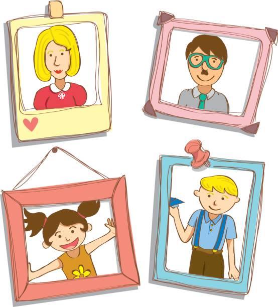 フレーム上の漫画の家族写真 - 家族写真点のイラスト素材/クリップアート素材/マンガ素材/アイコン素材