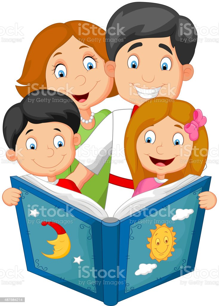cartoon family read a bedtime story stock vector art more images rh istockphoto com Reading Together Clip Art Hoot Owl Clip Art Reading