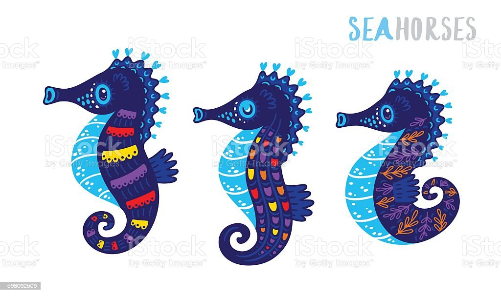 Cartoon family sea horse set. Vector illustration vector art illustration