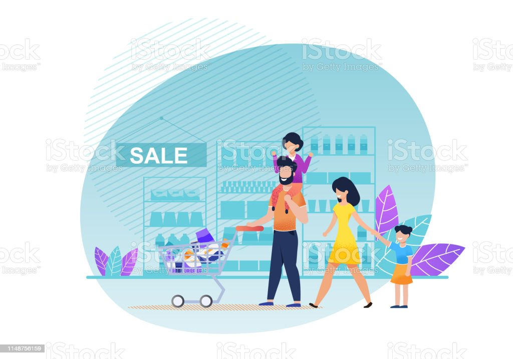 Cartoon Family Shopping At Supermarket Flat Vector Stock Illustration Download Image Now Istock