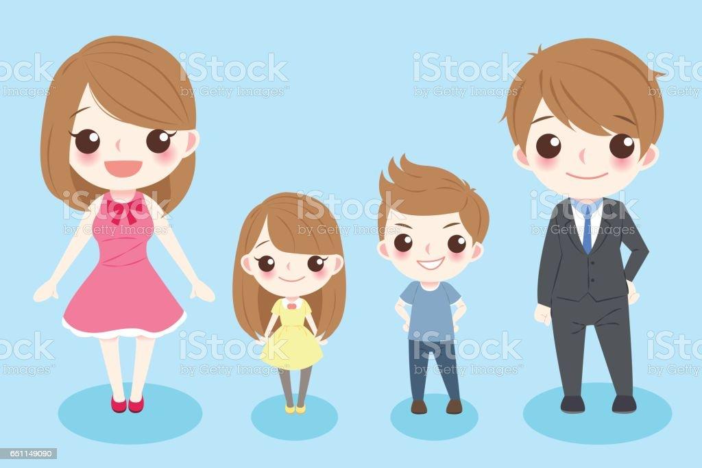Ilustración De Dibujos Animados Familia Sonrisa Feliz Y
