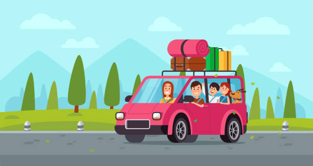 cartoon family travel in car. happy father, mother and childrens drive on holiday trip with luggage. traveling vector illustration - road trip stock illustrations