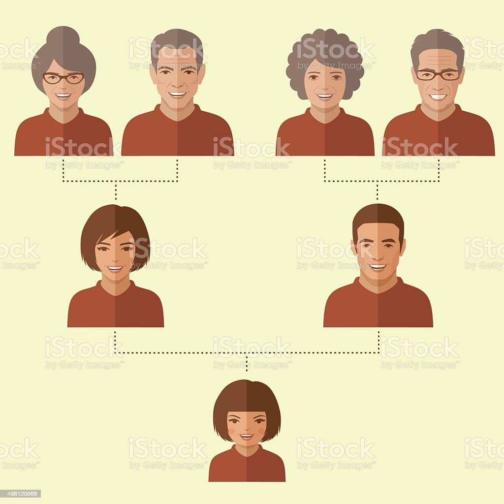 cartoon family tree vector art illustration