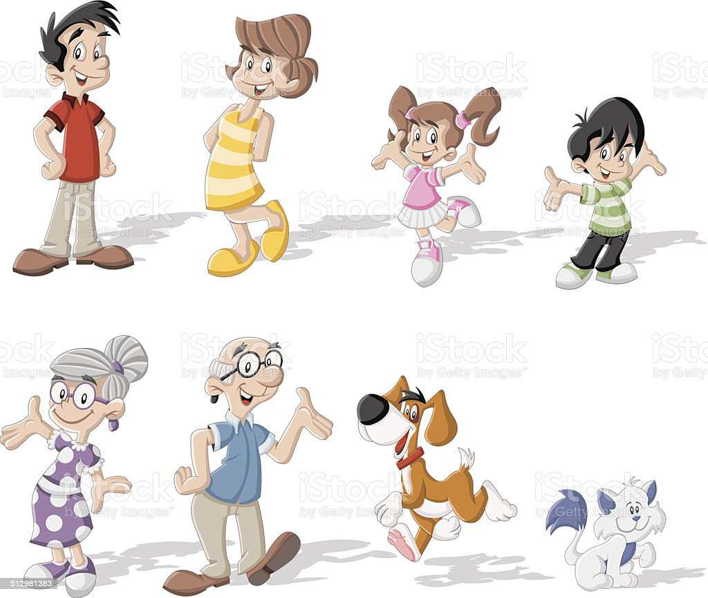 cartoon family vector art illustration