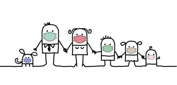 illustrations, cliparts, dessins animés et icônes de famille de dessin animé utilisant de jolis masques de protection faits à la main - covid france