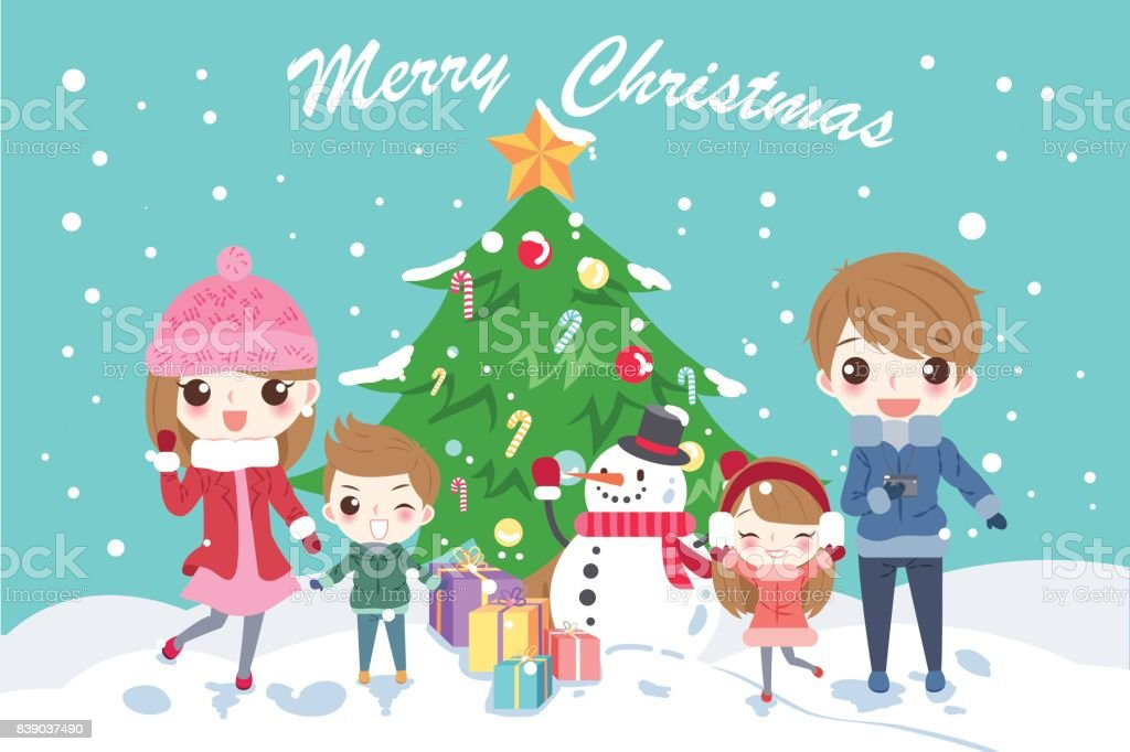 Cartoon Family With Christmas Stock Illustration Download Image Now Istock