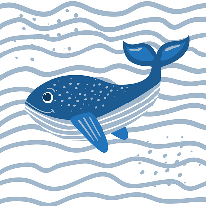 Cartoon fanny whale in the waves. Cute vector illustration of a blue whale. Design of notebooks, posters, t shirts, postcards, notebooks, souvenirs