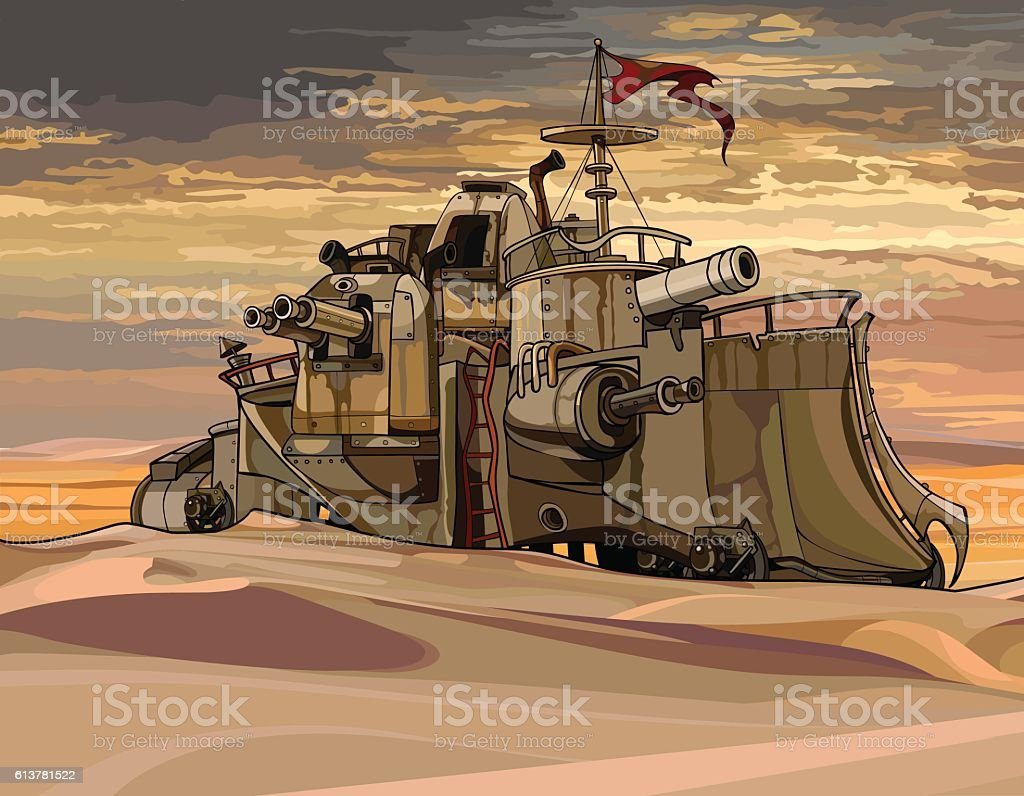 cartoon fantastic military armored train with guns in the desert vector art illustration