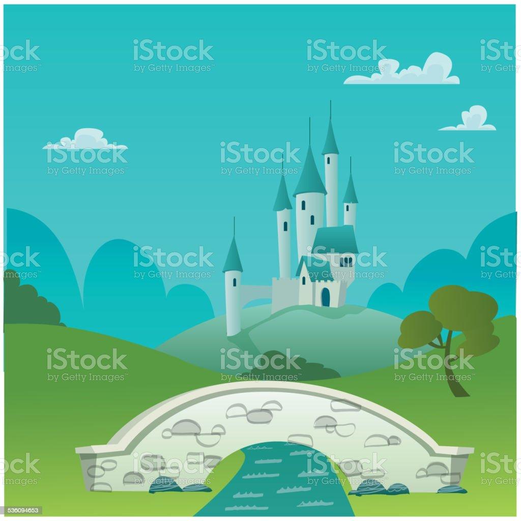 Castello di fantasia-illustrazione fumetto - illustrazione arte vettoriale