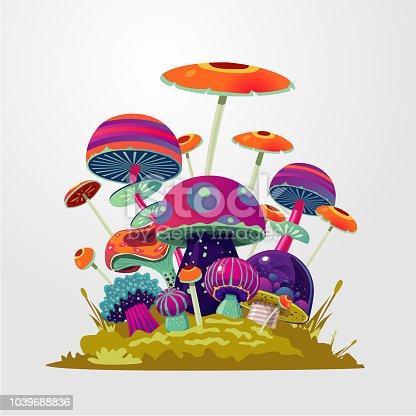 Cartoon fantasy mushroom background. Fantasy illustration with magic fungus. Vector concept illustration for game design.
